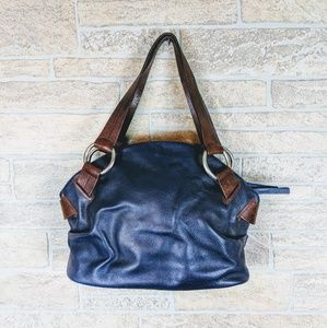 Authentic Rossi & Caruso Leather Bag Navy Blue